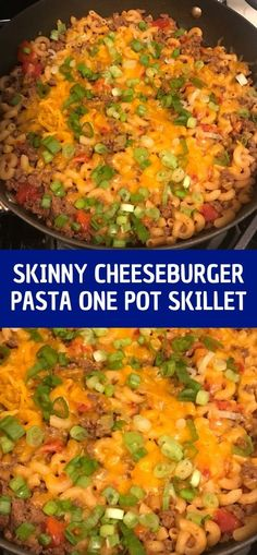 Ingredients 1 pound lean ground beef 1 teaspoon garlic powder 1 teaspoon smoked paprika 3 cups low sodium chicken broth ounces canned diced tomatoes 8 ounces elbow macaroni 6 ounces cups) shredded low-fat cheddar cheese 2 scallions, thinly sliced HOW TO Pasta Recipes, Crockpot Recipes, Chicken Recipes, Dinner Recipes Easy Quick, Easy Meals, Cheeseburger Pasta, Canning Diced Tomatoes, Low Sodium Chicken Broth, 1 Pound