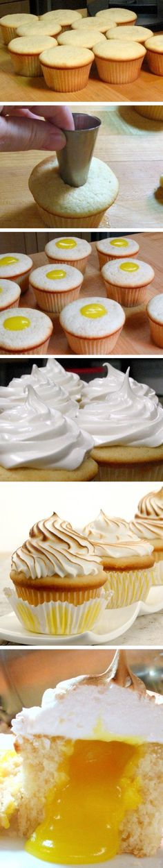 Lemon meringue cupcakes with a lemon curd center. Don't have a kitchen torch? Put the oven on broil and pop the frosted cupcakes in for seconds. Lemon Meringue Cupcakes Recipe, Yummy Cupcakes, Cupcake Recipes, Cupcake Cakes, Dessert Recipes, Lemon Cupcakes, Cup Cakes, Meringue Pie, Cupcake Ideas