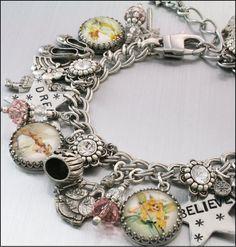 Silver Charm Bracelet, Glinda the Good Witch Jewelry, Fairy Charm Bracelet, Inspired Wizard of OZ Jewelry, Glinda Bracelet   by BlackberryDesigns, $123.00
