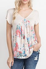 FLORAL PRINT CONTRAST BABY-DOLL TOP
