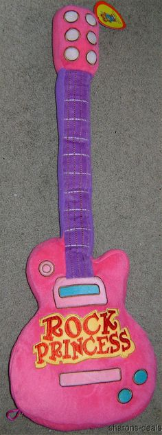 "27"" Rock Princess Guitar Pillow Pink Purple Plush Soft Toy Girl Room Decor Soft #Doesnotapply"