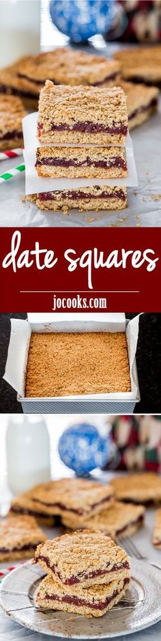 Date Squares - these easy to make date squares are delicious, gooey and super tasty. An old fashioned recipe that will give you the best date squares you'll ever have.