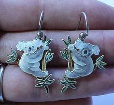 Antique Sterling Silver 925 Koala Bear Dangle or Drop Enamel Earrings #DropDangle