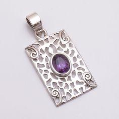 Handmade Natural Amethyst Gemstone 925 Sterling Silver Pendant Filigree Jewelry #Handmade #Pendant