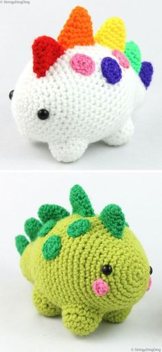 Colorful Amugurumi Dinosaur - Free Crochet Pattern - Amigurumi - Who'd said, that dinosaurs aren't real? Almost every kiddo would be delighted to see one and pl - Crochet Gifts, Cute Crochet, Crochet For Kids, Easy Crochet, Crochet Toys, Crochet Baby, Sewing Projects For Beginners, Knitting For Beginners, Crochet Patterns For Beginners