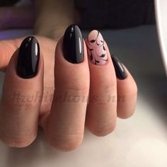 Feminine nails, Hardware nails, Ideas of evening nails, Leaves nails, Medium nails, Oval nails, ring finger nails, Shellac nails 2017