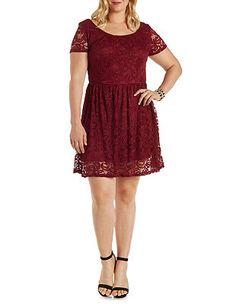 $34.99 Plus Size Short Sleeve Lace Skater Dress: Charlotte Russe