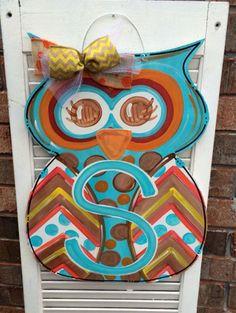 Owl Door Hanger Fall Door Hanger Welcome by JustPlainADoorAble Owl Door Hangers, Burlap Door Hangers, Burlap Crafts, Wooden Crafts, Burlap Art, Painted Doors, Painted Signs, Fall Crafts, Diy Crafts