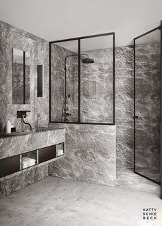 Grey Marble Bathroom, Grey Bathrooms, Beautiful Bathrooms, Modern Bathroom, Master Bathroom, Luxurious Bathrooms, Orange Bathrooms, Stone Bathroom, Marble Bathrooms