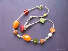 orange and green artisan beaded necklace - green and orange tones - natural hemp cord - free shipping - gift for her