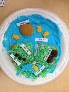 Fun, edible way to teach landforms. (SS1G3 The student will locate major topographical features of the earth's surface. c. Identify and describe landforms, including mountains, deserts, vall eys, plains, plateaus, and coasts.)