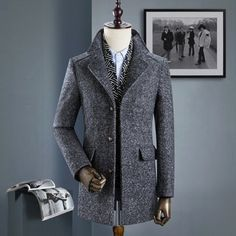 Mens Business Casual Thicken Woolen Trench Coat Detachable Scarf
