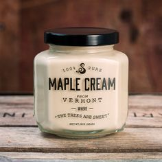 Simple, easy to read packaging really showcases this product. 100% Pure Vermont Maple Cream. Sweet.