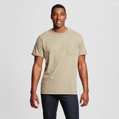 Men's Big & Tall Crew Neck Fashion Rolled Sleeve T-Shirt with Pocket Brown 4XBT - Mossimo Supply Co.