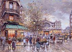 Gare de l Est Painting by Antoine Blanchard | Oil Painting