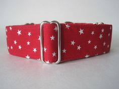 Red and White Stars Martingale Dog Collar. A classic red martingale with white stars and lined with satin. Collar Width Available: 1-1/2 inch