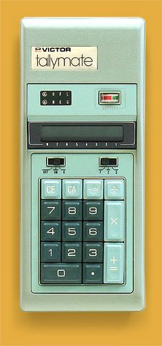 In the early 1970s when the pocket calculator was new, they were a huge fad. And speaking of huge, this 9-inch long green monster is the Victor Tallymate calculator made in Japan in 1973. From 'Pocket Calculators' at the web's largest private collection of antiques & collectibles: http://www.ericwrobbel.com/collections/calculators.htm