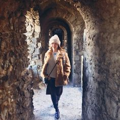 Wind machine in a castle. Obviously :-) #fur #burberry #winter #boots #blonde #hat