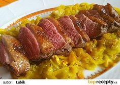Kachní prsa v švestkové marinadě a zelí z dýně hokaido recept - TopRecepty.cz Sausage, Food And Drink, Pork, Beef, Pork Roulade, Meat, Sausages, Pigs, Ox