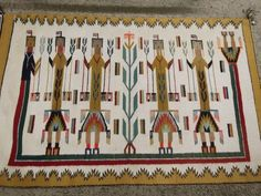 Older FANTASTIC Yeibachi YEI 5Figure Pictorial Navajo Indian Weaving  Blanket Rug