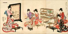 1895 - Chikaboru, Toyohara - Composing poems - Asian Collection Internet Auction