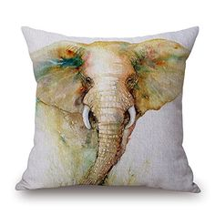 Art Watercolor Elephant Cotton Cushion Sofa Home Decor Design Square 177 Inch Floral Popular Fashion Pillow Case W4588142 *** For more information, visit image link.-It is an affiliate link to Amazon. #DecorativePillowsInsertsCovers