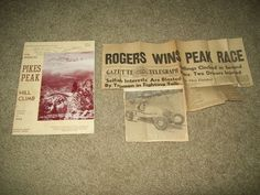 1949 pikes peak hill climb race official program & newspaper article from $9.99