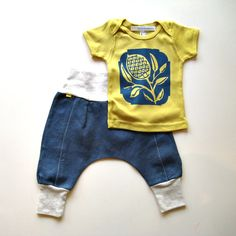 modern baby gift set - organic thistle tee/downtown aladdin pants - girls boys outfit - yellow/blue