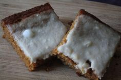 Pumpkin Cake Bars with Maple Cashew Icing from The Vegan Pact