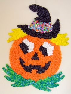 1970's decorations | 1970s Melted Plastic Popcorn Halloween Jack O'Lantern Wall Decoration