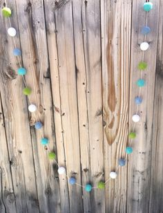 Boys Nursery Felt Ball Garland Pom Pom by TheFickleFeltTree