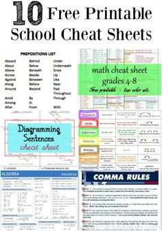 These handy free printable school cheat sheets are a great way to refresh…