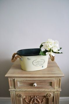 Cream Flowers Tin Planter, perfect for displaying faux flowers in the home or used as a outdoor planter. Tin Flowers, Cream Flowers, Faux Flowers, Outdoor Planters, Garden Gifts, Fresh Water, Decorative Boxes, Sweet Home, Shed