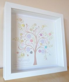 """Beautiful """"Spring Bloom"""" family tree embellished with butons and beads and framed in a box frame 25 x 25cm. Unique and original, this makes a sentimental and personal gift. Can incoroporate up to approx 18 names with your choice of quote/message too. This one is shown with the quote """"Family - Like branches on a tree, we grow in different directions, yet our roots remain as one"""" Can also be done in any colours of your choice."""