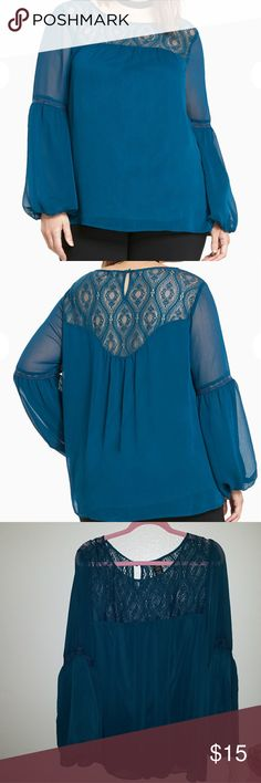 Teal torrid peasant boho blouse This crinkled teal chiffon top is totally sheer so feel free to bare all or rock a cami underneath. A peasant silhouette so it's everything?but?tight or clingy, with a lace inset neck and back that are played up by cinched balloon sleeves. torrid Tops Blouses