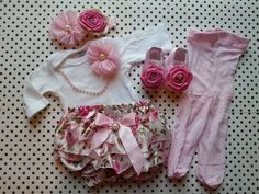 This outfit will be ready to ship in 3 days.    Dress your baby in this beautiful, unique handmade, hand-sewn complete Newborn sized outfit!    I