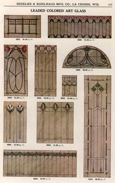 Leaded Colored Art Glass, 1911.  Segelke & Kolhaus Mfg. Co., From the Association for Preservation Technology (APT) - Building Technology Heritage Library, an online archive of period architectural trade catalogs. Select an era or material and become an architectural time traveler.