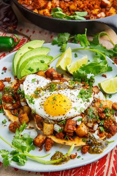 Chorizo and Potato Tostadas with Fried Eggs - February 12 2019 at - Amazing Ideas - and Inspiration - Yummy Recipes - Paradise - - Vegan Vegetarian And Delicious Nutritious Meals - Weighloss Motivation - Healthy Lifestyle Choices Egg Recipes, Brunch Recipes, Mexican Food Recipes, Breakfast Recipes, Cooking Recipes, Healthy Recipes, Yummy Recipes, Sweet Potato Breakfast Hash, Breakfast Potatoes