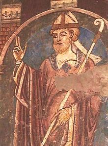 St Cuthbert. 12th cent wall-painting in Durham Cathedral.  St Cuthbert (c.634–687). Anglo-Saxon monk of the Early English Church. Usually linked to the monasteries of Melrose and Lindisfarne, where he was made prior (c665) and, later on, in 684, bishop of Lindisfarne. His cult centred on his tomb at Durham cathedral and was one of the most famous saints in England in the middle Ages