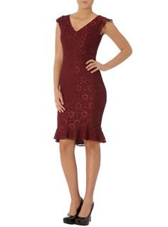 Corded lace fluted dress