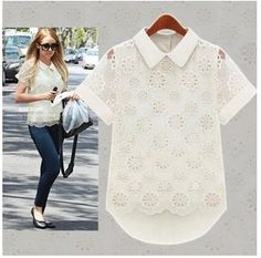 JR8002  New Women's Hollow Organza Lace Chiffon Short Sleeve Shirt Lady 2014 Summer  Casual Dress US $13.88