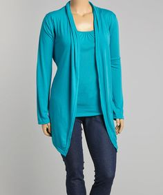 Plus Size Teal Drape Front Cardigan w White Lace Back | Cardigans ...