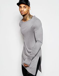 ASOS Bamboo Jersey Super Longline Long Sleeve T-Shirt With Asymmetric Hem