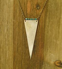 Long Brass Triangle Necklace