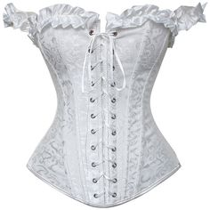 Daisy Corsets White Brocade Corset ($36) ❤ liked on Polyvore featuring shirts, underwear and plus size