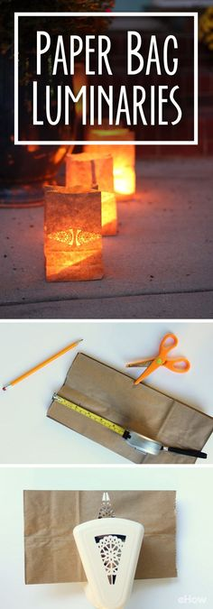 How to Create Safe Paper Bag Luminaries How to make safe paper bag luminaries. So beautiful! Line these up along your walkway to create a warm and inviting lit way. The post How to Create Safe Paper Bag Luminaries appeared first on Paper Diy. Diy Paper Bag, Paper Bag Crafts, Paper Bags, Paper Crafting, Diy Crafts, Dollar Store Crafts, Dollar Stores, Christmas Paper, Christmas Crafts