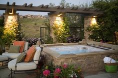 Stupendous Backyard Landscaping Ideas With Jacuzzi, Jacuzzi is a huge focus for yard landscaping. Jacuzzi is a big bath or a little pool that's equipped electrically to sprout jets of water and air bubb. Hot Tub Backyard, Hot Tub Garden, Backyard Patio, Backyard Landscaping, Backyard Ideas, Backyard Designs, Patio Ideas, Landscaping Ideas, Rustic Backyard