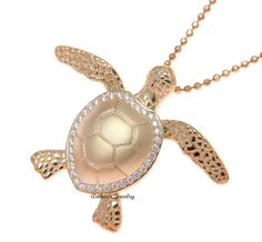 Turtle Jewelry, Turtle Necklace, 925 Silver, Sterling Silver, Turtle Love, My Precious, Metal Clay, Rose Gold Plates, Diamond Jewelry