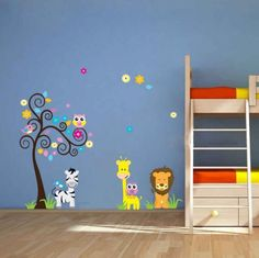 Owl Zebra Lion Tree Wall Sticker Removable Home Decor Decal Art Vinyl Mural for Kids Bedroom Animal Stickers DIY PVC Wall Decoration Nursery 60cm X 90cm (A 47) * Remarkable discounts available  : Nursery Decor