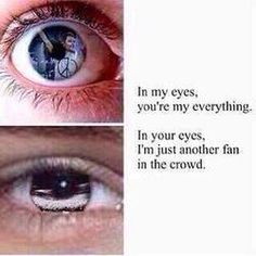 If you look closely in the Directioner's eye, you can see Liam. But in the boy's eye,you can see a crowd.